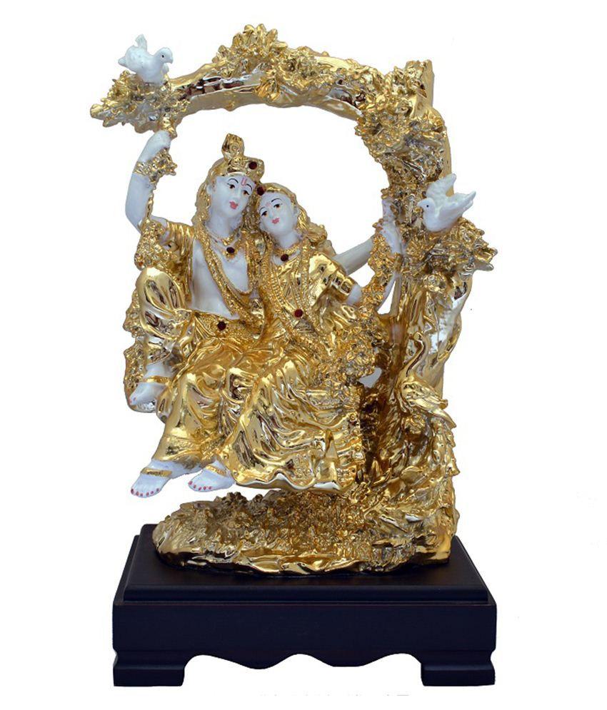 Gharonda Golden & White Polypropylene Raadha Krishna Zhulla Idol