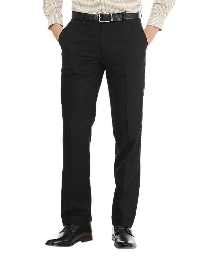 AD & AV Black Regular Fit Formal Flat Trouser