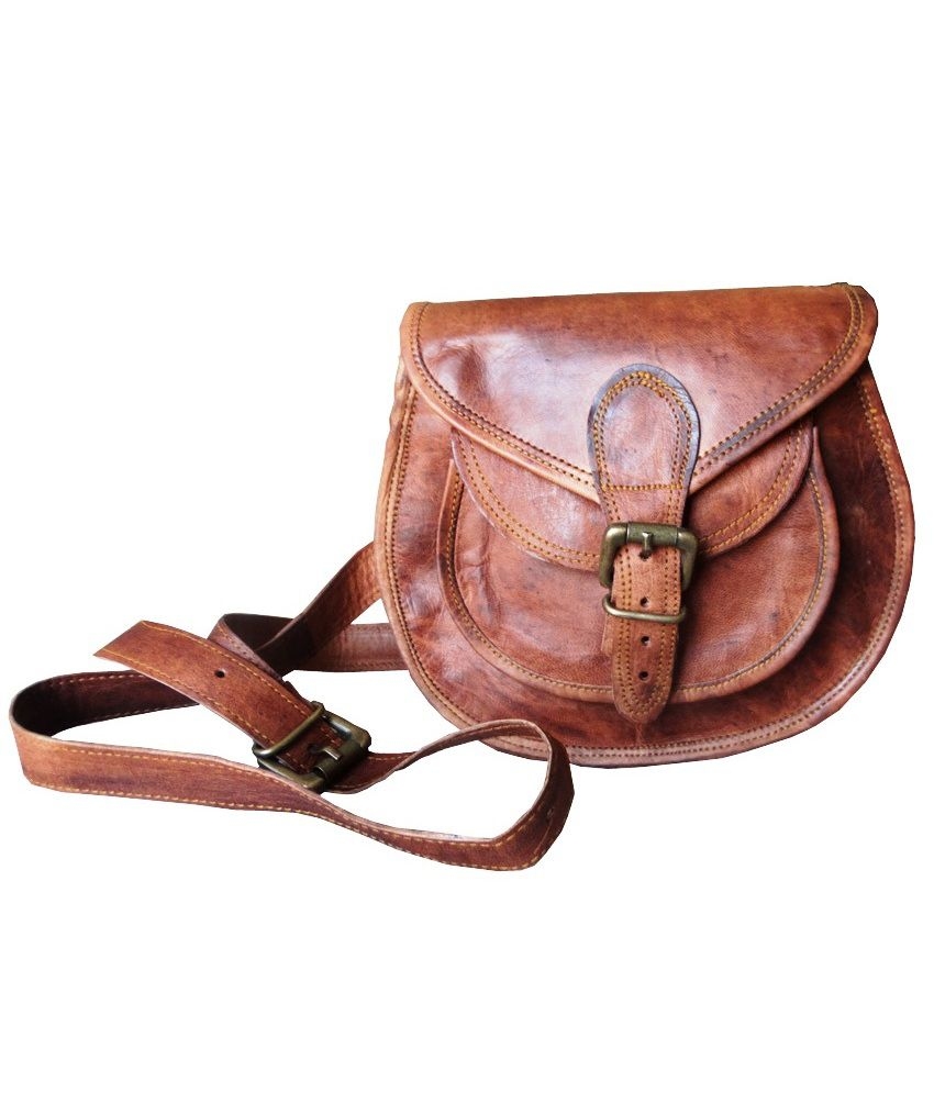 B Unit Products Leather Brown Casual Sling Bag