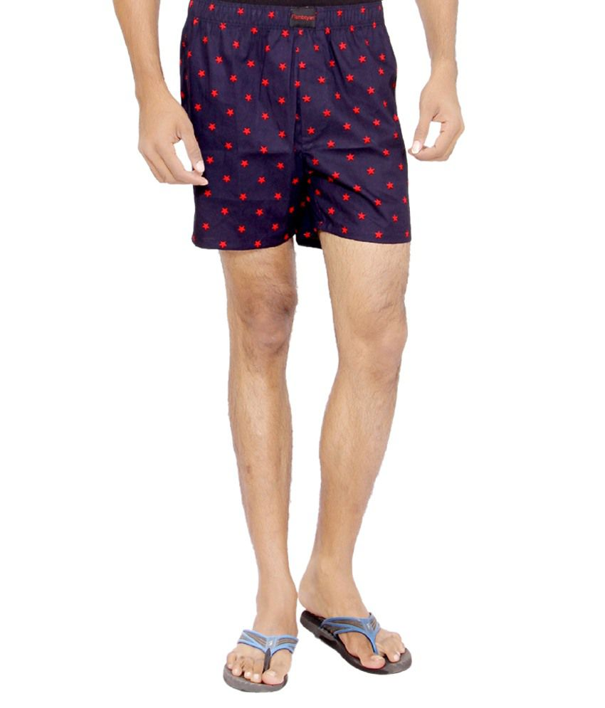 Flamboyant Navy & Red Cotton Printed Shorts