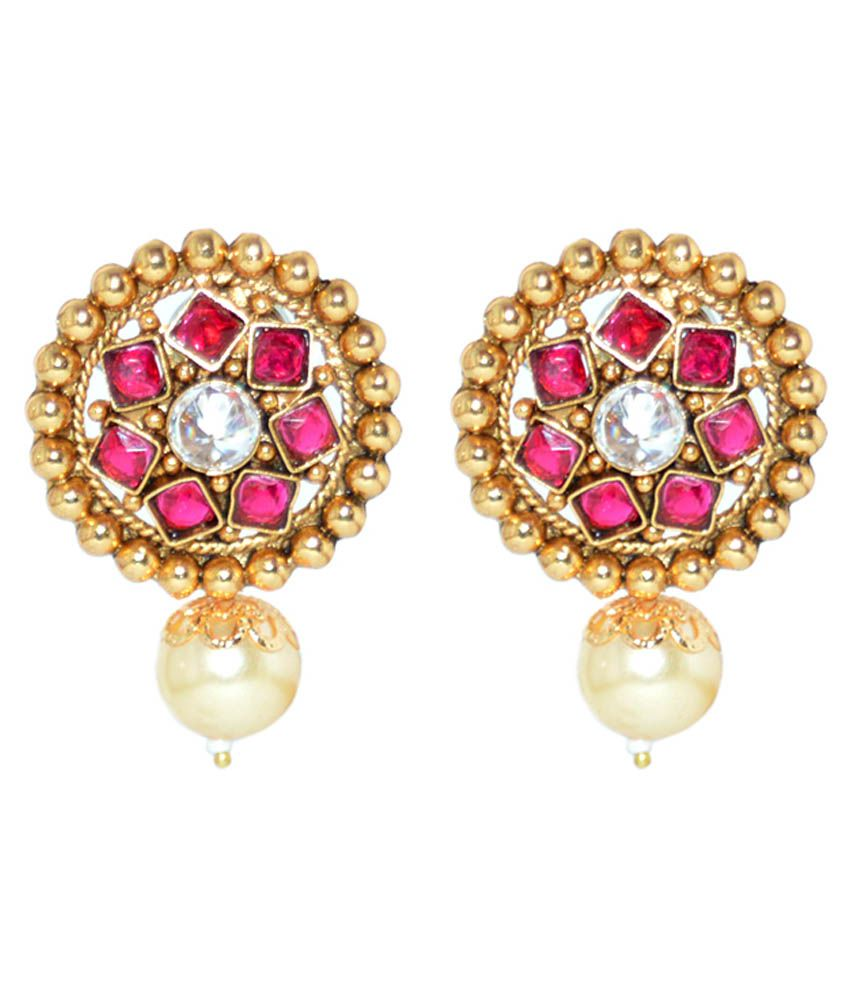 Moshiv Pink and Gold Designer Stud Earrings