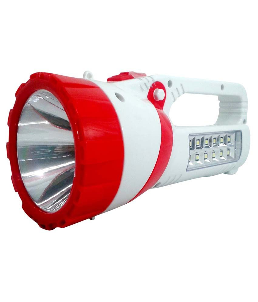 Vrct Virgin Plastic Torch With Led Rechargable Emergency Light White & Red