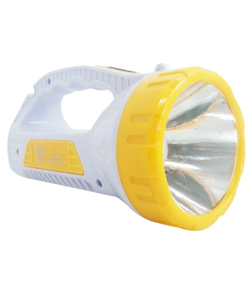 Vrct Virgin Plastic Torch With Led Rechargable Emergency Light Grey & Yellow