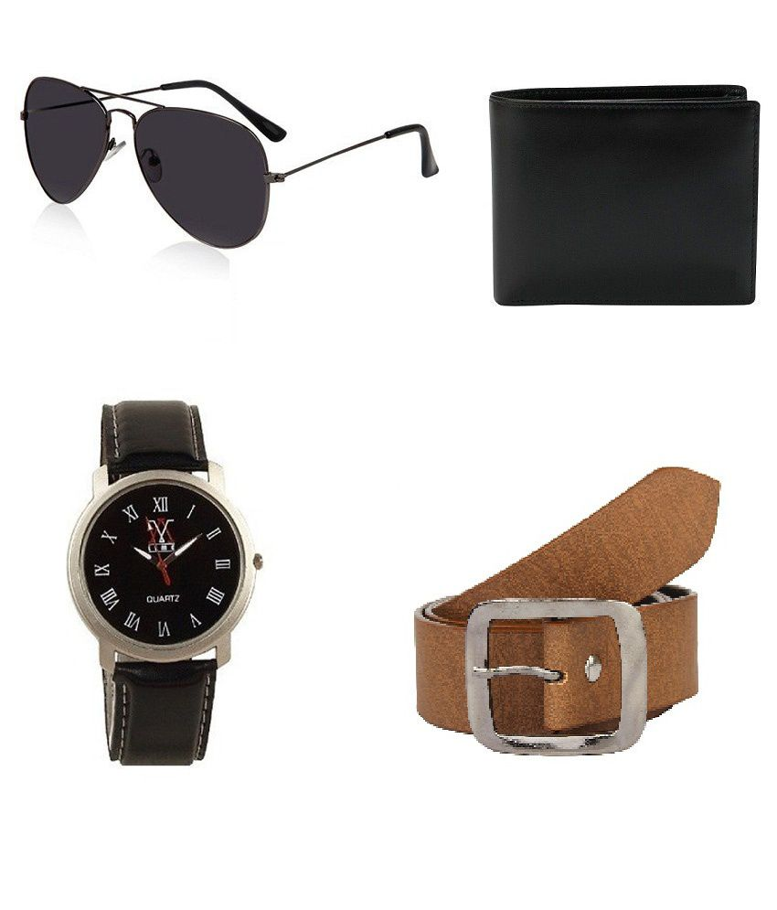 lime Combo Of Brown Casual Belt For Men With Wallet, Watch And Sunglass