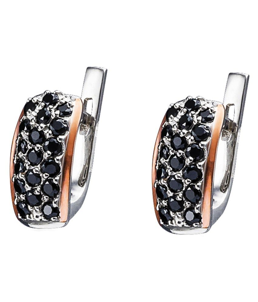 Golden Silver 9kt Gold Stud Earrings With Ring