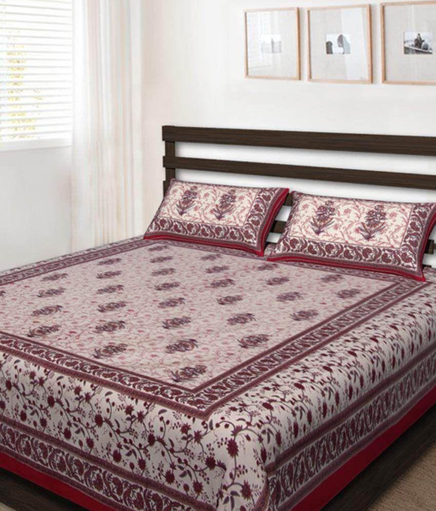 UniqChoice Multicolour Floral Cotton Double Bedsheet with 2 pillow cover