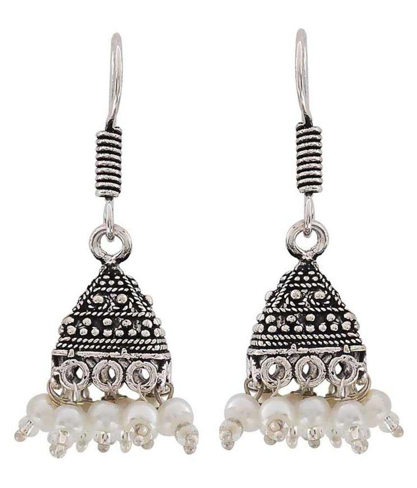 Maayra White Brass Jhumki Earrings