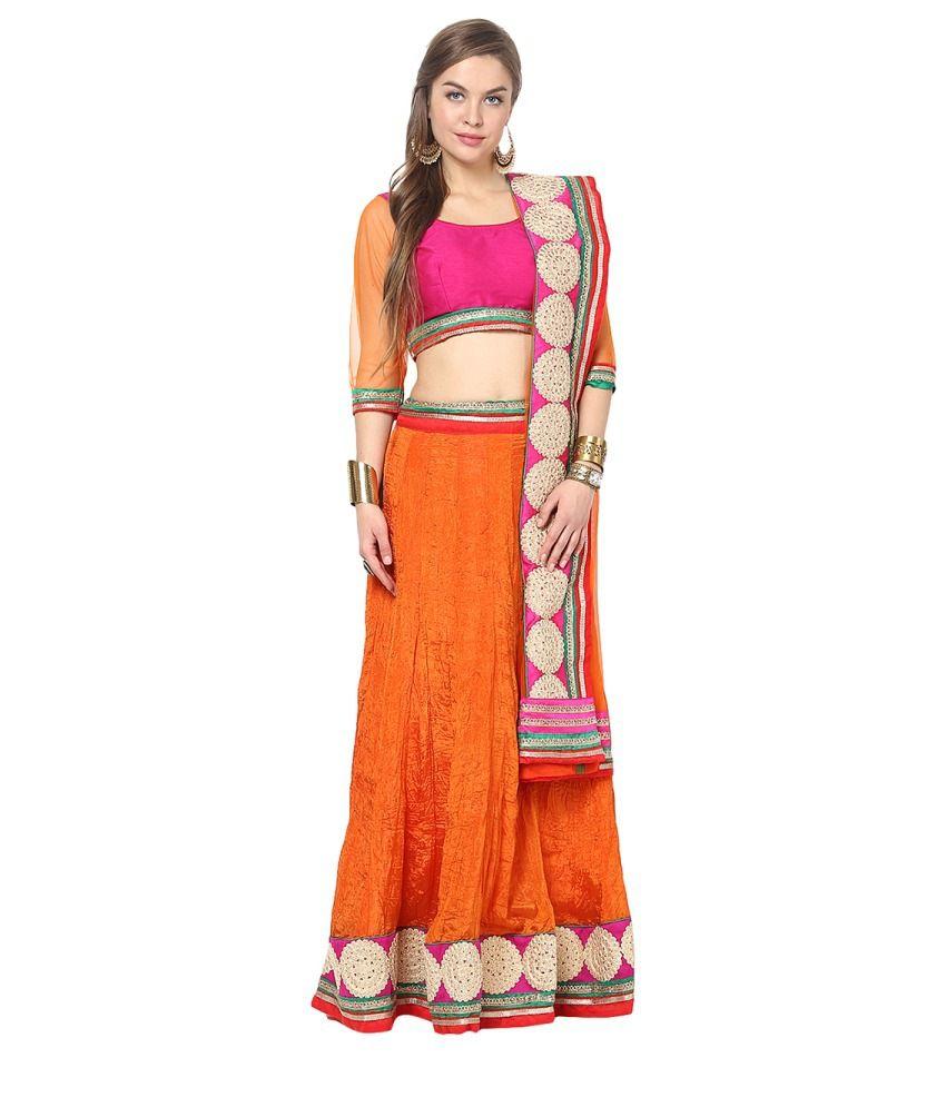 Yepme Jacinta Pink and Orange Lehenga Choli Set