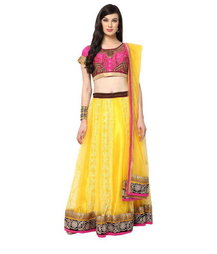 Yepme Sarikka Pink and Yellow Lehenga Choli Set
