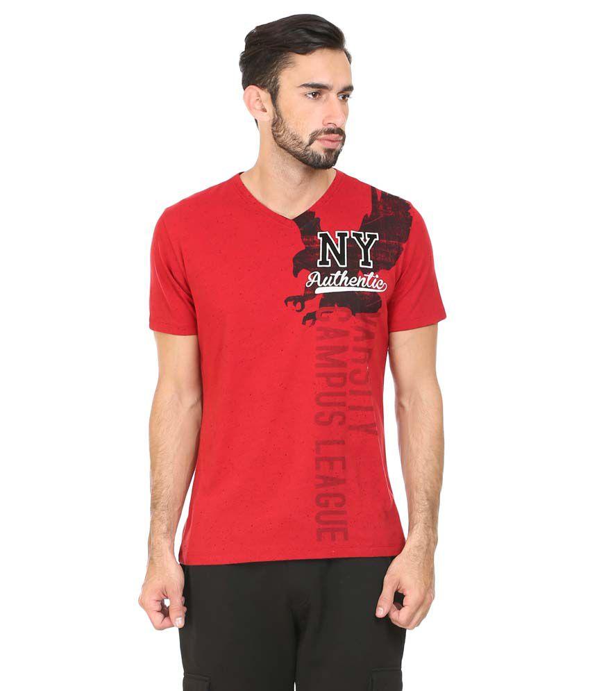 Antigravity Red Cotton Blend T-shirt