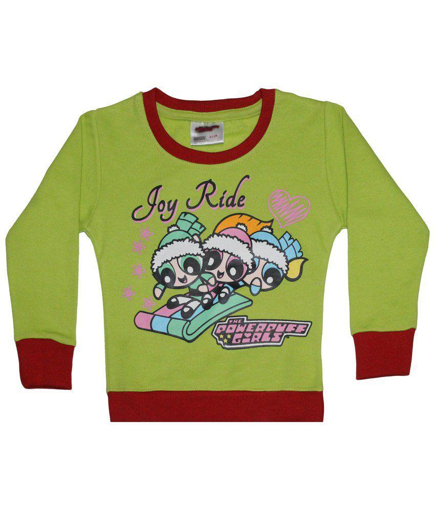 Power Puff Girls Green & Red Full Sleeve Sweatshirt