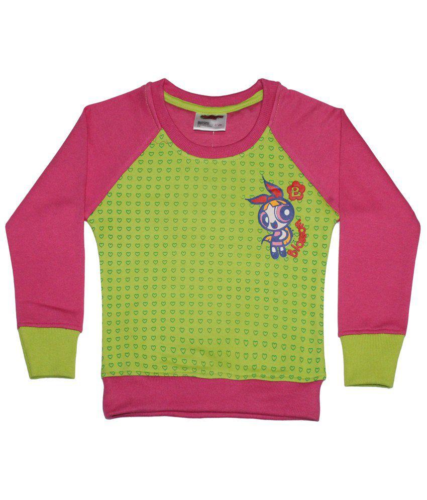 Power Puff Girls Pink & Green Full Sleeve Sweatshirt