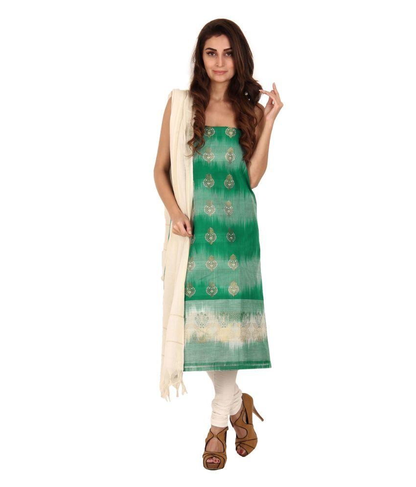 Platinaa Traditional Jacquard Dress Material Platinaa Green Cotton Silk Unstitched