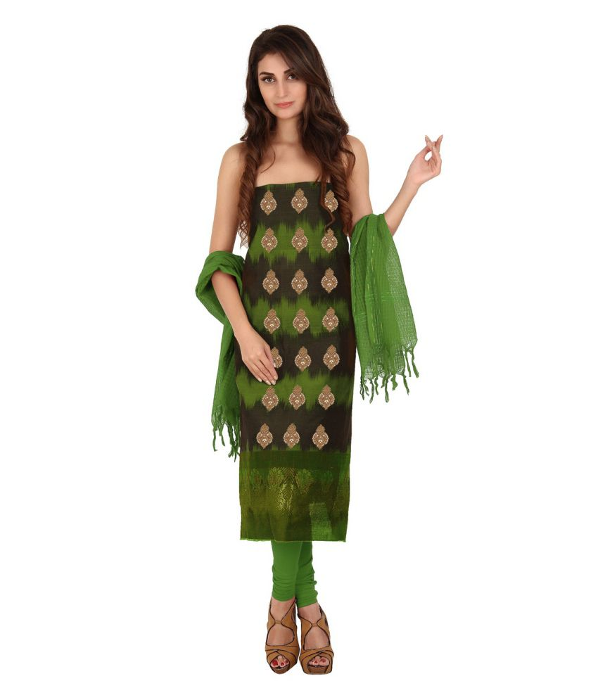 Platinaa Traditional Silk Cotton Dress Material Platinaa Green Cotton Silk Unstitched