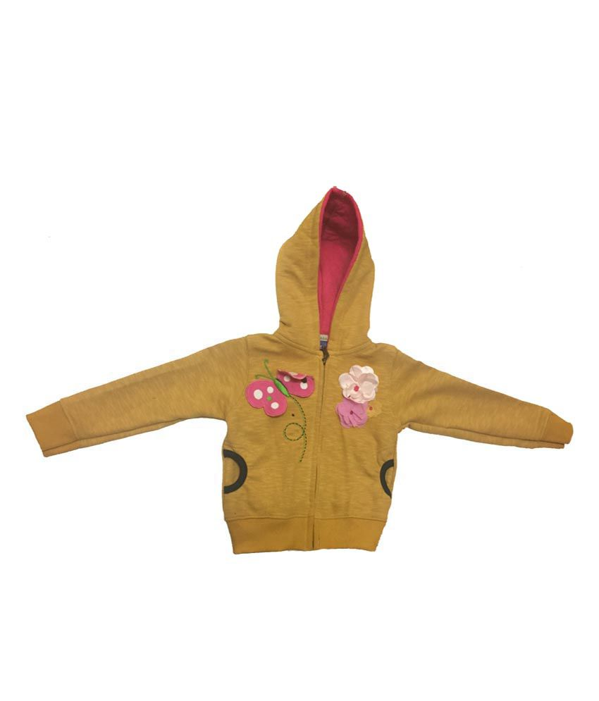 Addis Yellow Cotton Hooded Jacket For Girls - Pack Of 2