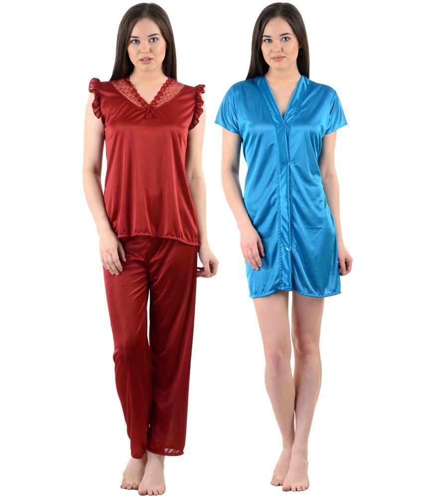 American-Elm Women's Stylish Multicolor Satin Nighty - Pack...