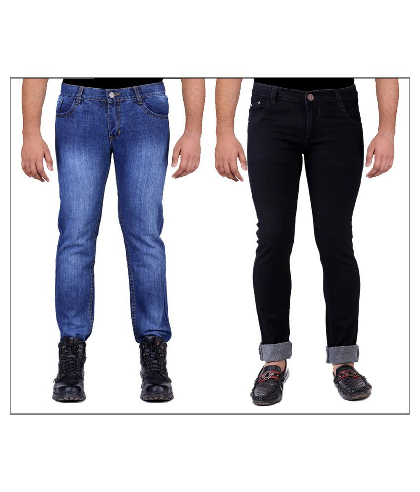 Ansh Fashion Wear Blue and Black Regular Fit Jeans - Pack of 2