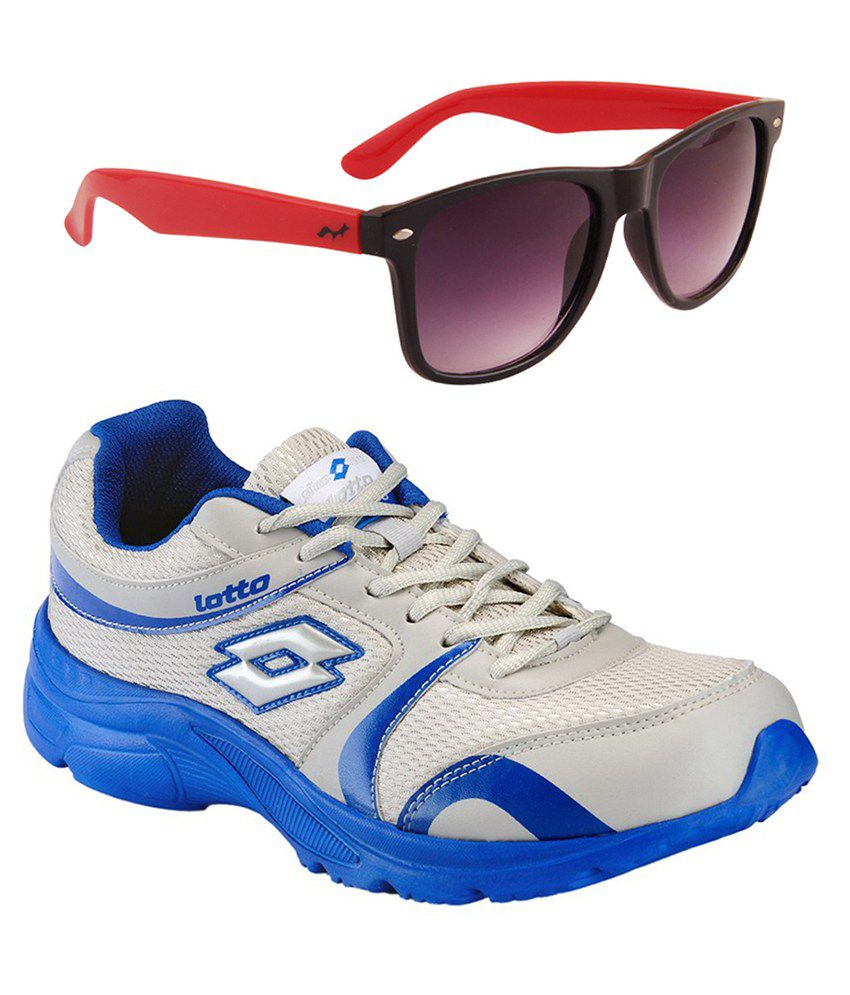Lotto Combo of Gray and Blue Sports Shoes with Wayfarer Sunglasses