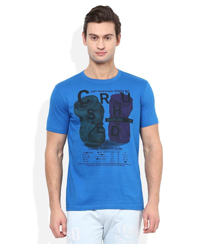 T-base Blue Round Neck T Shirt