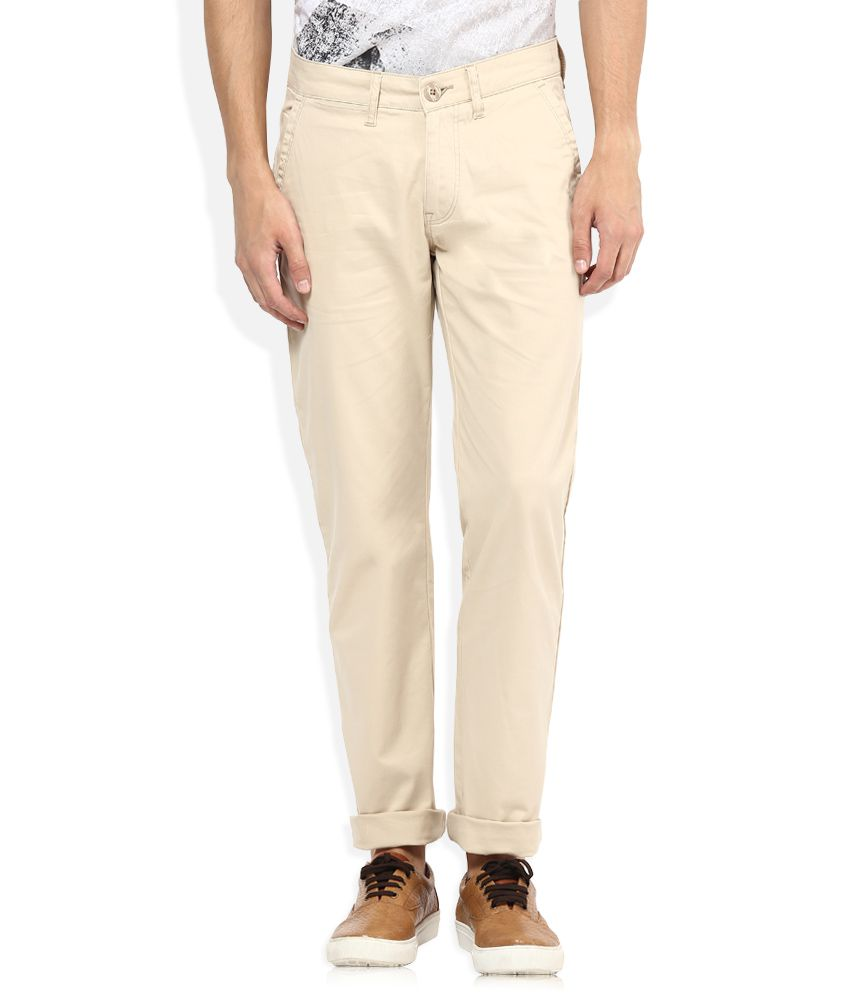 American Swan Beige Slim Fit Casuals Chinos