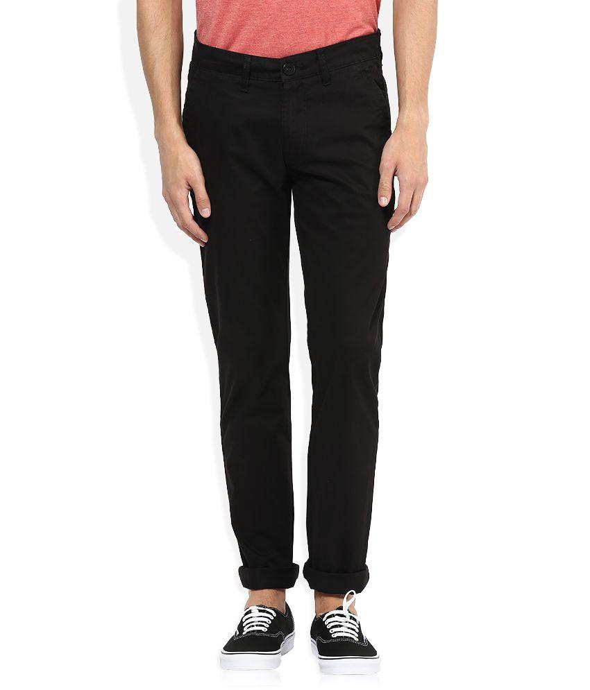 American Swan Black Slim Fit Casuals Chinos