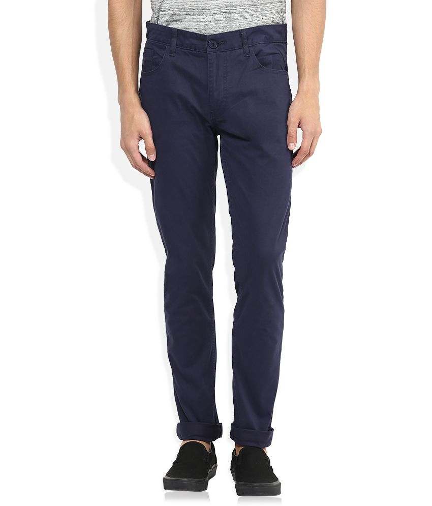 American Swan Navy Slim Fit Casuals Chinos