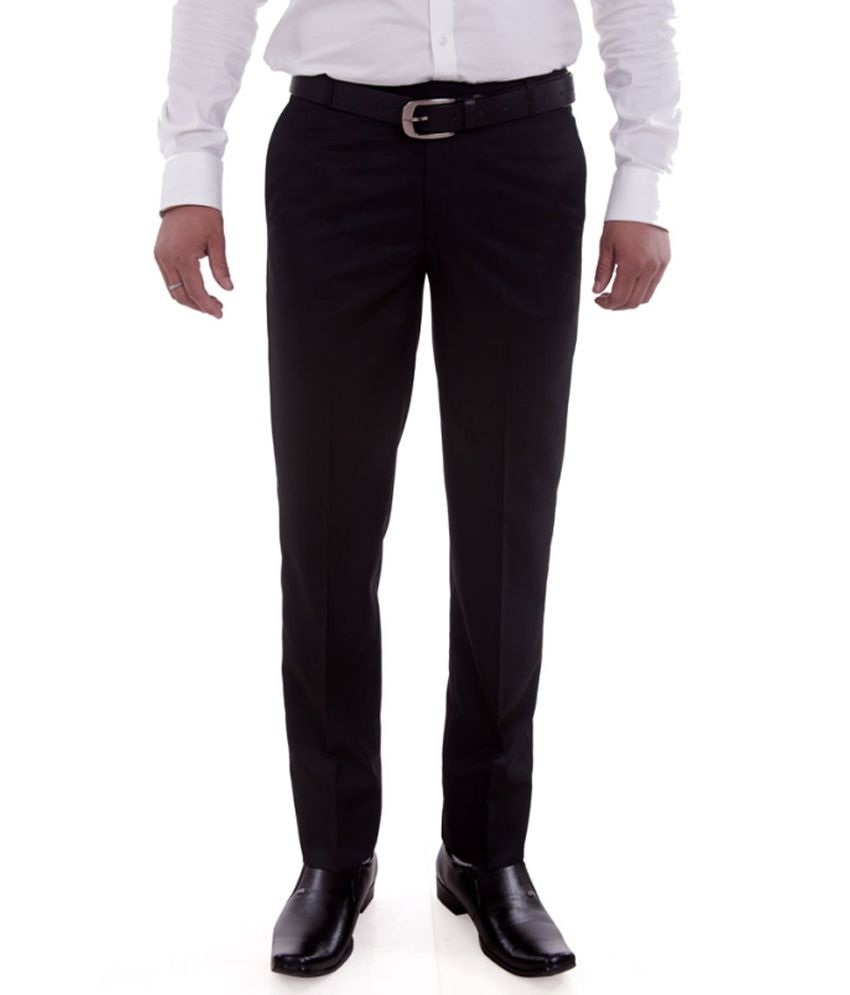 Numerics Black Regular Fit Formal Flat Trouser