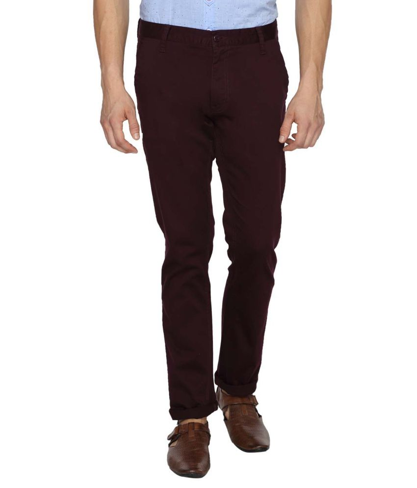 Derby Jeans Community Purple Slim Fit Casual Chinos
