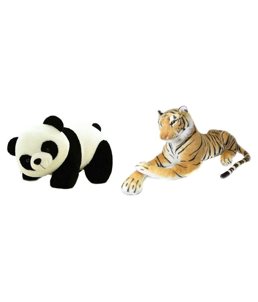 Deals India Deals India Combo Of Panda Soft Toy And Brown Stuffed Tiger Animal
