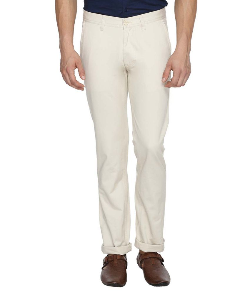 Derby Jeans Community Off-White Regular Fit Casual Chinos
