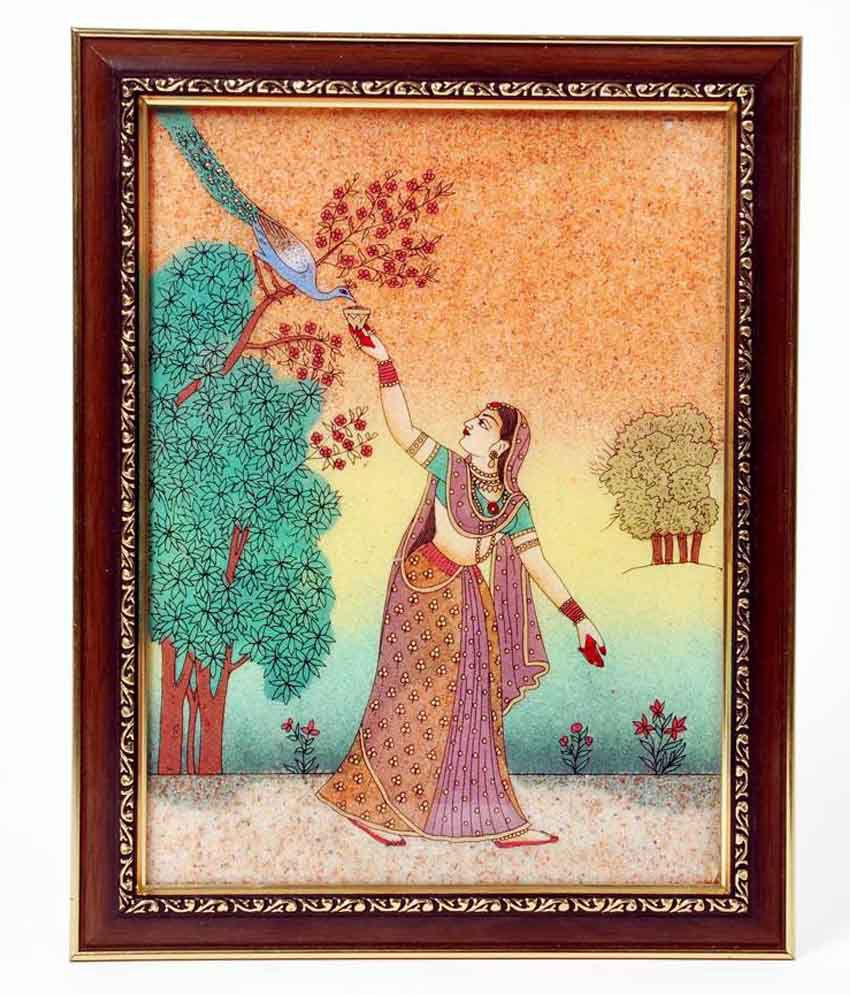 Shreemangalammart Lady Ethnic Gemstone Painting