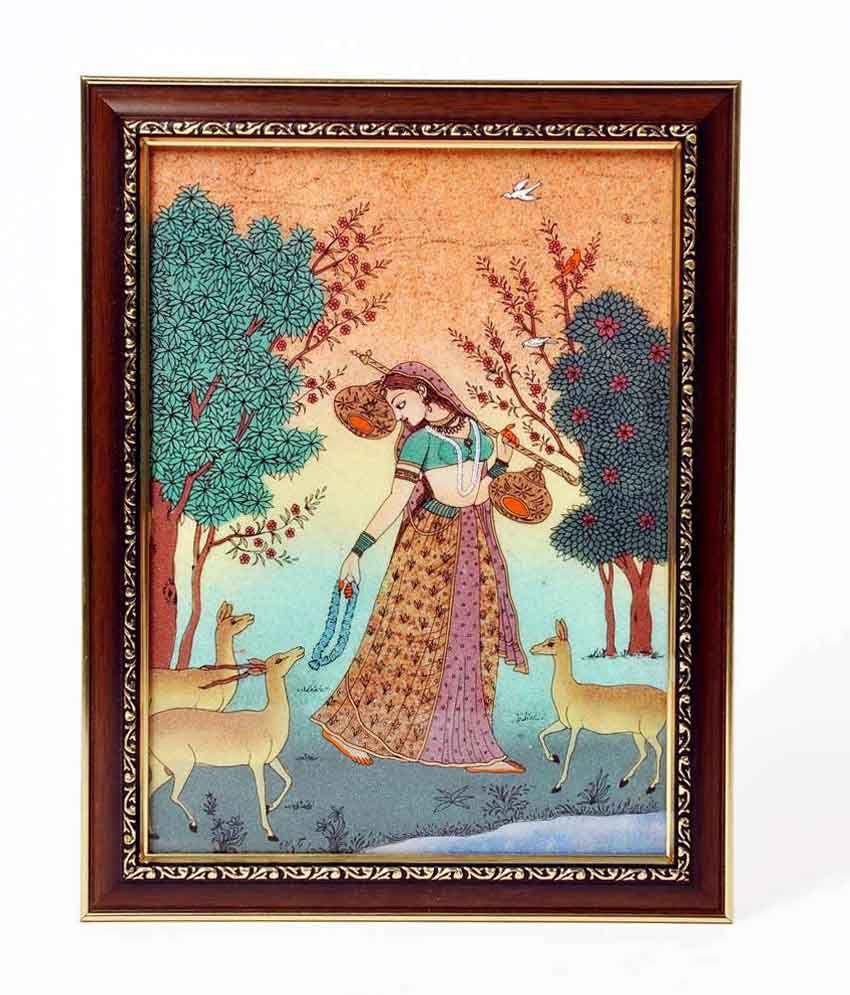 Shreemangalammart Meera Playing Sitar Gemstone Painting