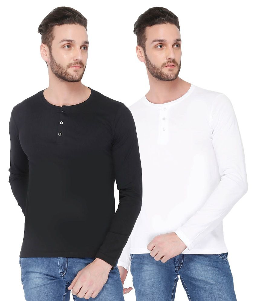 Dennis Lingo Black And White Cotton T-shirt - Pack Of 2