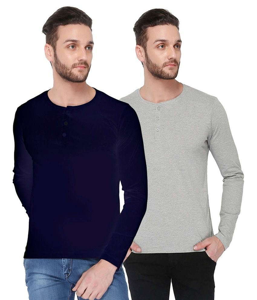 Dennis Lingo Navy Blue And Gray Cotton T-shirt - Pack Of 2