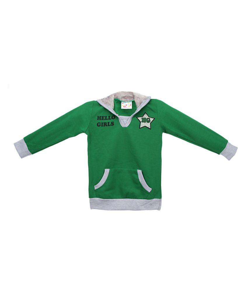 Eimoie Green Full Sleeve Fleece Jacket With Hood