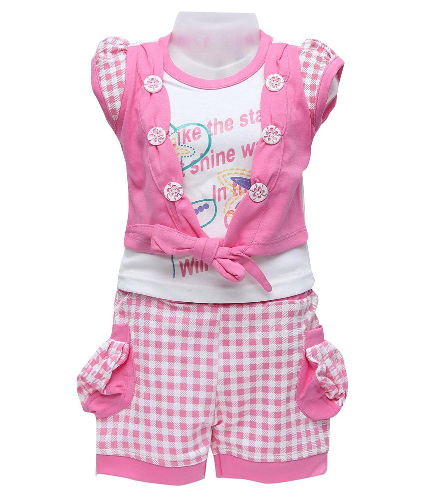 efd27d09a121 Golden Girl White and Pink Cotton Top and Shorts Set - Buy Golden Girl White  and Pink Cotton Top and Shorts Set Online at Low Price - Snapdeal