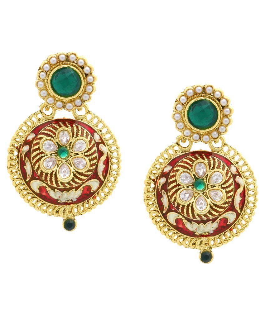 The Jewelbox Red Kundan Designer Stud Earrings