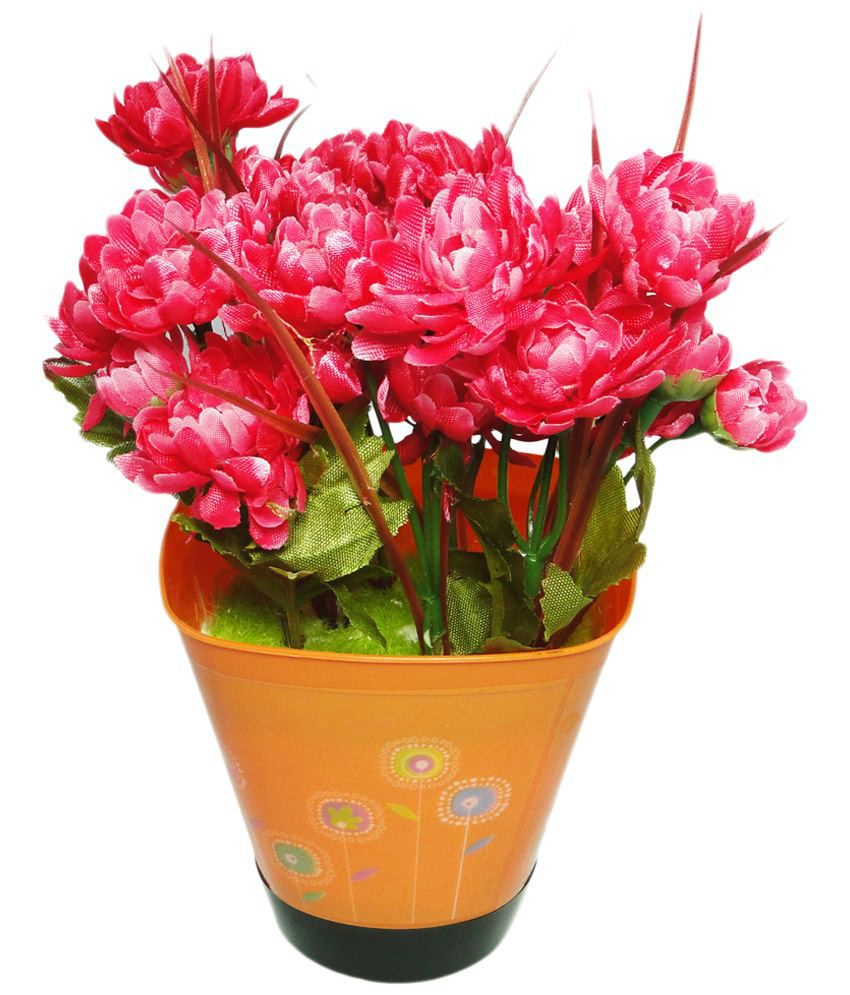 Go Hooked Nice Red & Green Artificial Flowers with Pot