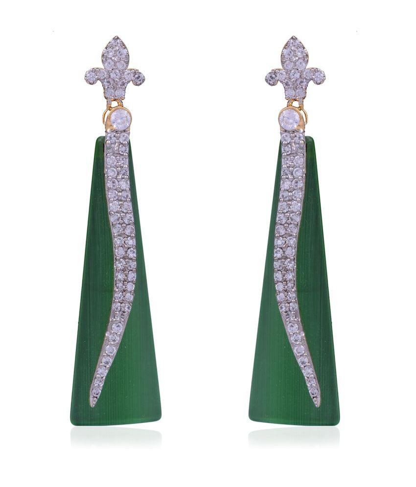 Jewel Planet Green Alloy Drop Earrings