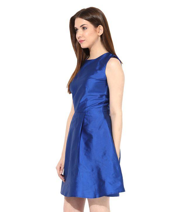 ... Miss Chase Blue Cotton Mini Skater Dresses For Women Sleeveless Round  Neck Casual Wear ... 912e91ba0