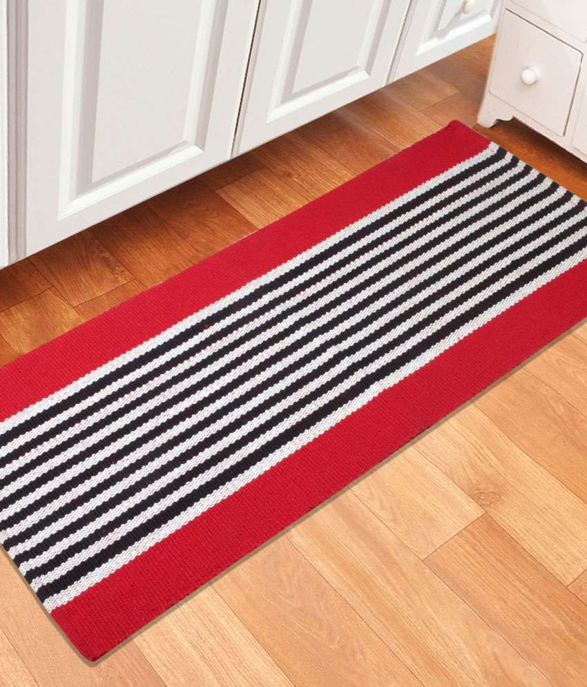 Saral Home Red Cotton Floor Mat