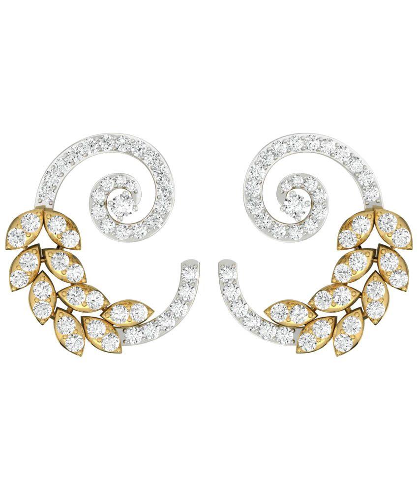 TBZ-The Original 18 Kt Gold Diamond Contemporary Stud Earrings