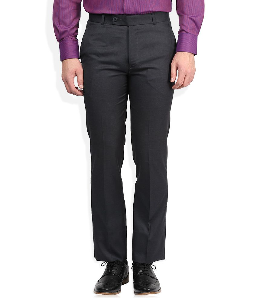 Vivaldi Navy Blue Solid Flat Front Trousers