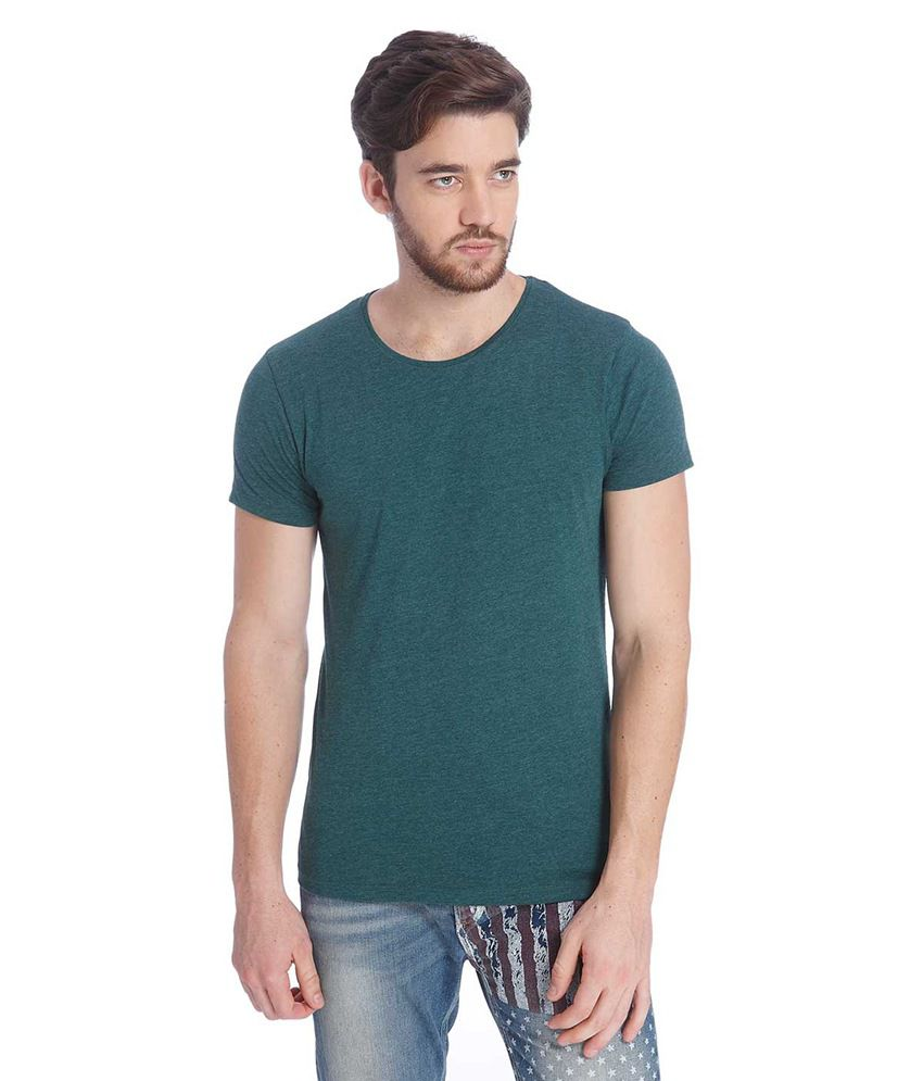 Jack & Jones Green Half Sleeves T-Shirt