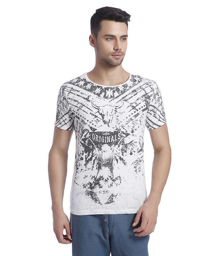 Jack & Jones White Half Sleeves T-Shirt