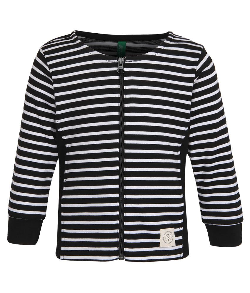 United Colors of Benetton Black Striped Zippered Sweatshirt