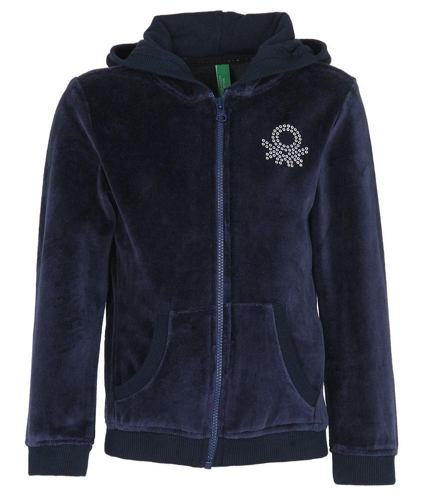 United Colors of Benetton Navy Velour Zippered Sweatshirt