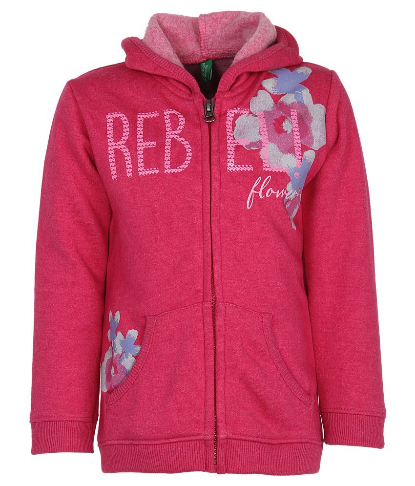 United Colors of Benetton Pink Printed Zippered Sweatshirt