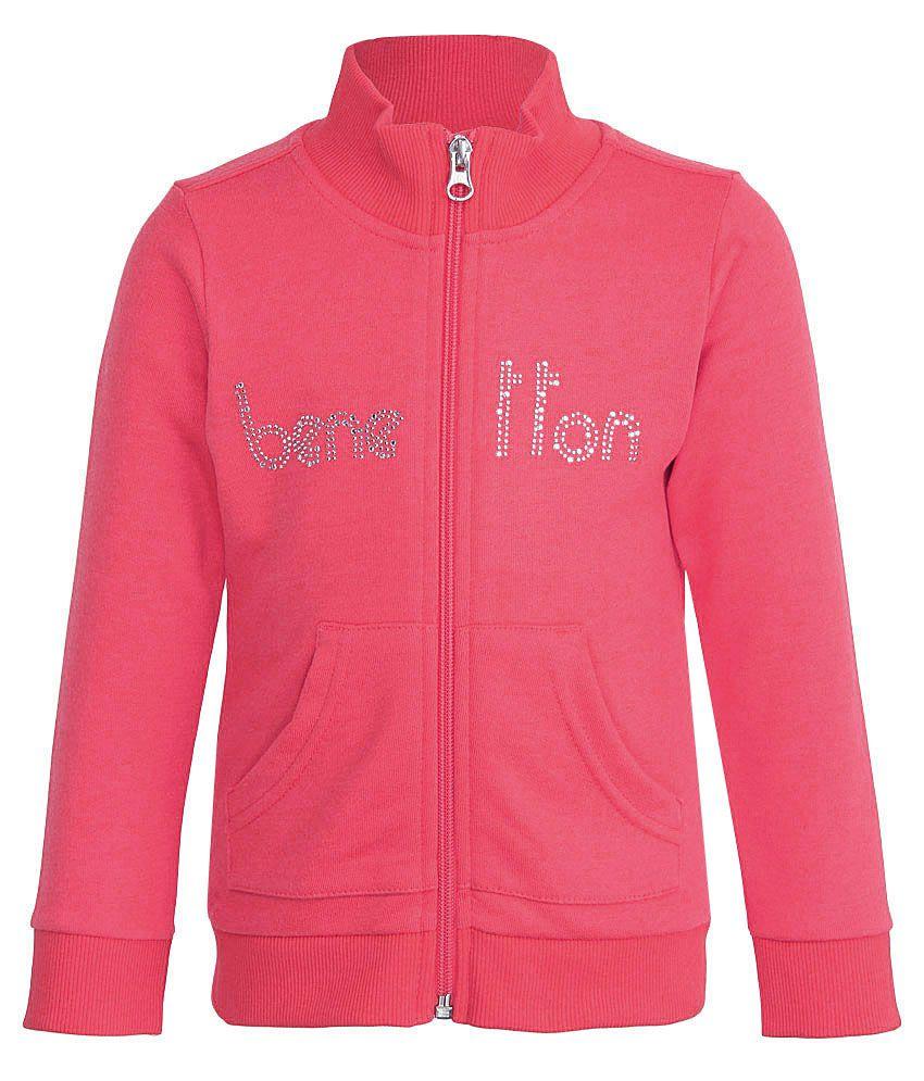 United Colors of Benetton Pink Zippered Sweatshirt