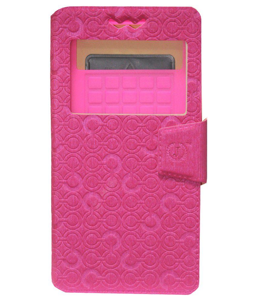 Jo Jo Flip Cover For iBall Andi5 Stallion - Pink